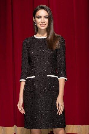 Платье Платье ЮРС 19-268/1  Состав ткани: Вискоза-23%; ПЭ-33%; Люрекс-8%; Акрил-36%;  Рост: 164 см.  Это прекрасное черное платье – универсальный вариант, пленительный в своей элегантности. Это