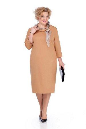 Платье Платье Pretty 974 золотой  Состав ткани: Вискоза-20%; ПЭ-80%;  Рост: 164 см.  Платье из плательно-костюмной с небольшой растяжимостью. На переде обработаны нагрудные вытачки. Спинка со средним