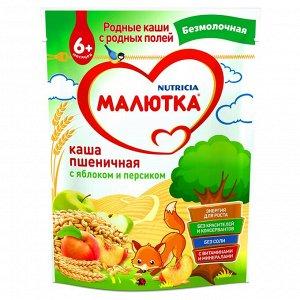Малютка Каша безмолочная пшеничная с яблоком и персиком ДОЙ-ПАК 200 г