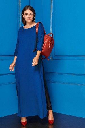 Костюм Костюм Anastasia 230 синий/черный  Рост: 164 см.  Комплект женский 2-х предметный (платье и леггинсы). Платье женское из трикотажного полотна, длинное, прямого силуэта. Перед цельный, с цельн