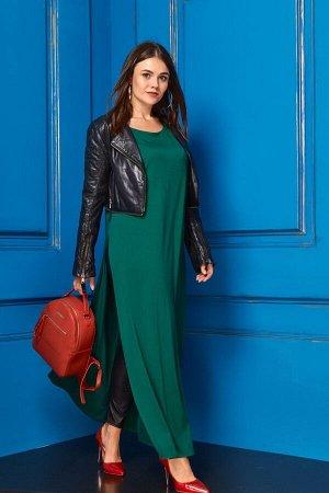Костюм Костюм Anastasia 230 темно-зеленый/черный  Рост: 164 см.  Комплект женский 2-х предметный (платье и леггинсы). Платье женское из трикотажного полотна, длинное, прямого силуэта. Перед цельный,