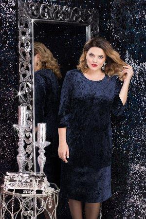 Платье Платье Lenata 11814 темно-синий  Состав ткани: ПЭ-95%; Спандекс-5%;  Рост: 164 см.  Велюровое платье выглядит очень красиво, однако, это не единственное его преимущество. Ткань одновременно уд