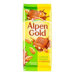 Шоколад Альпен Гольд Соленый Миндаль Карамель 85 г 1 уп.х 21 шт.