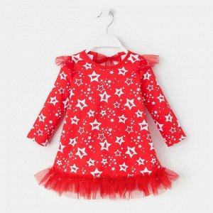"""Платье Крошка Я """"Новогодний Пингвинчик"""", красный, р.30, рост 98-104"""