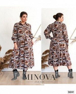 Платье №3133-В-коричневый