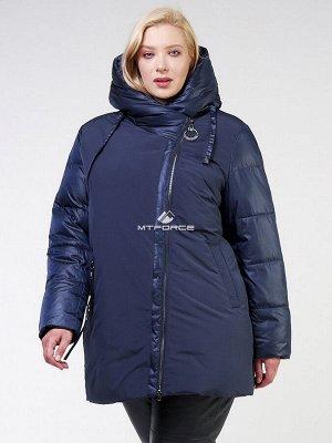 Женская зимняя классика куртка большого размера темно-синего цвета 85-951_16TS
