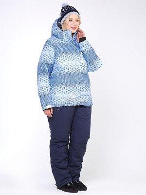 Женский зимний костюм горнолыжный большого размера синего цвета 01830S
