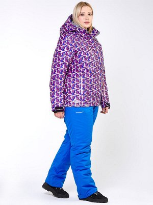 Женский зимний костюм горнолыжный большого размера фиолетового цвета 018112F