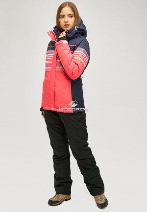 Женский зимний костюм горнолыжный розового цвета 01856R