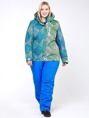 Женский зимний костюм горнолыжный большого размера салатового цвета 01830-2Sl