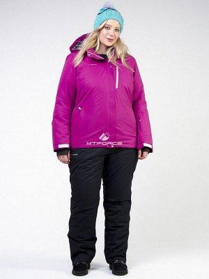 Женский зимний костюм горнолыжный большого размера фиолетового цвета 011982F