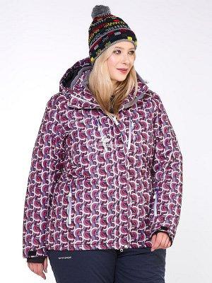 Куртка горнолыжная женская большого размера малинового цвета