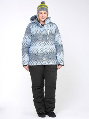 Женский зимний костюм горнолыжный большого размера серого цвета 01830Sr