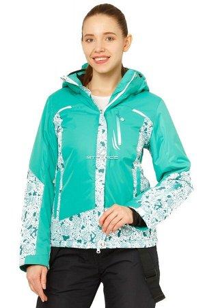 Женская зимняя горнолыжная куртка зеленого цвета 17122Z
