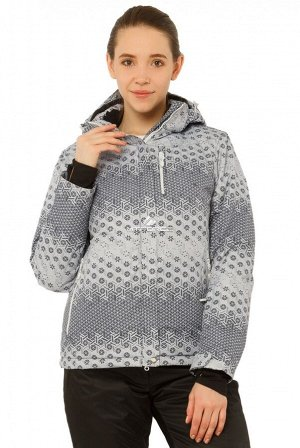 Женская зимняя горнолыжная куртка большого размера серого цвета 17881Sr