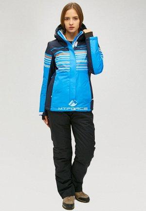 Женский зимний костюм горнолыжный синего цвета 01856S
