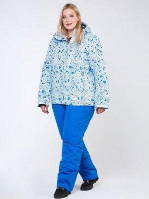 Женский зимний костюм горнолыжный большого размера синего цвета 01830-1S