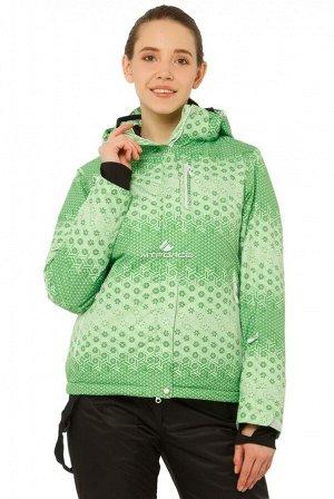 Женская зимняя горнолыжная куртка зеленого цвета 1786Z