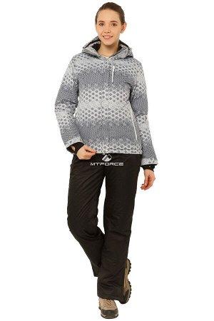 Женский зимний костюм горнолыжный серого цвета 017881Sr