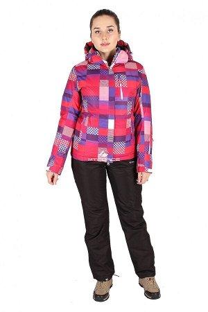 Женский зимний костюм горнолыжный розового цвета 01784R