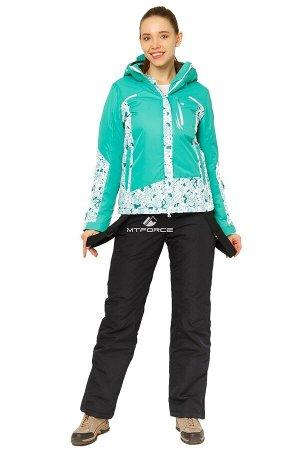 Женский зимний костюм горнолыжный зеленого цвета 017122Z