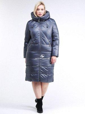 Женская зимняя классика куртка большого размера темно-серого цвета 108-915_25TC