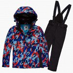 Подростковый для девочки зимний горнолыжный костюм красного цвета