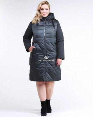 Женская зимняя классика куртка большого размера темно-зеленного цвета 100-916_150TZ