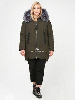 Женская зимняя молодежная куртка большого размера цвета хаки