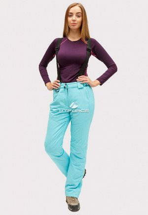 Женские зимние горнолыжные брюки голубого цвета 905Gl