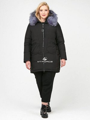 Женская зимняя молодежная куртка большого размера черного цвета