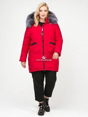 Женская зимняя молодежная куртка большого размера красного цвета 92-955_30Kr
