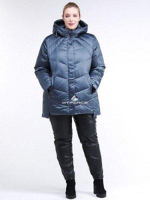 Женская зимняя классика куртка большого размера синего цвета 85-923_49S