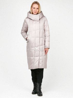 Женская зимняя молодежная куртка стеганная бежевого цвета 9163_28_1B