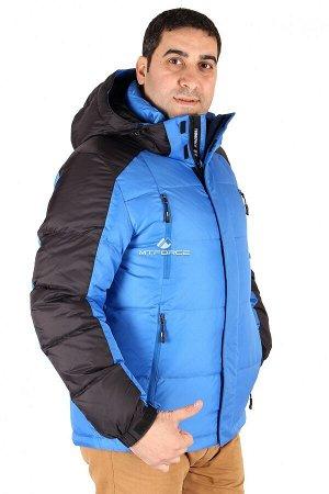 Мужской зимний пуховик синего цвета 9872S