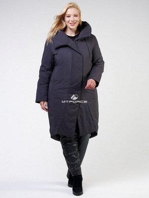 Женская зимняя классика куртка большого размера темно-серого цвета