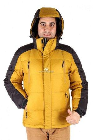Мужской зимний пуховик горчичного цвета 9872G