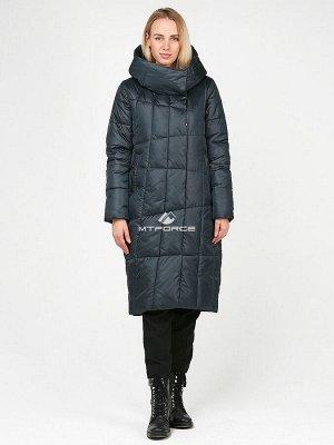 Женская зимняя молодежная куртка стеганная болотного цвета 9163_03Bt