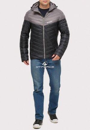 Мужская осенняя весенняя спортивная куртка стеганная черного цвета 1853Ch