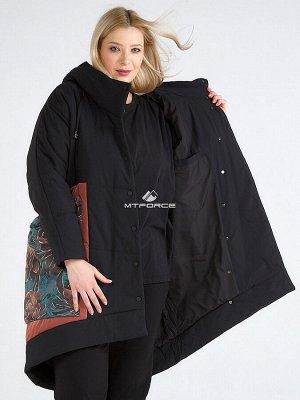 Женская зимняя классика куртка большого размера черного цвета