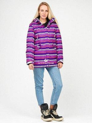 Женская зимняя горнолыжная куртка темно-фиолетового цвета 1937TF