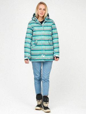 Женская зимняя горнолыжная куртка бирюзового цвета
