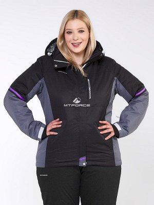 Женская зимняя горнолыжная куртка большого размера черного цвета