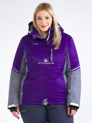 Женская зимняя горнолыжная куртка большого размера темно-фиолетового цвета 1934TF