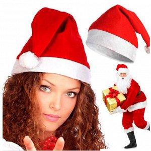 Колпак Санта- Клауса из нетканого материала красный с белой отделкой