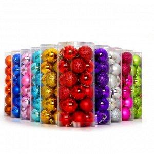 Набор елочных шаров (24 шт.) одного цвета, из пластика, размер 3 см