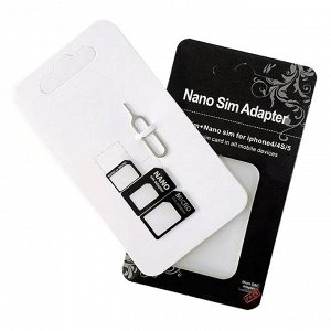 Адаптер для сим-карты (комплект из 3 держателей и 1 скрепки) для iPhone 4/4S/5/5S/6