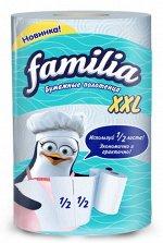 """Бумажные полотенца """"Familia"""" белые 2 слоя, 1 рулон XXL, 1/2 листа"""