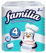 """Бумажные полотенца """"Familia"""" белые 2 слоя, 4 шт, 1/2 листа"""