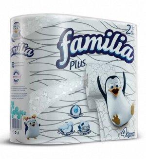 "Т/бумага ""Familia Plus"" белая 2 слоя, 4 шт"